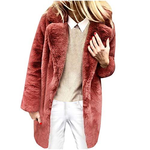 Zegeey Damen Mantel Langarm Einfarbig Revers Langjacke Langjacke Steppjacke Winter Warm Bequem Outwear Oberteil Pullover Tops Blusen(rot,40 DE/L CN)