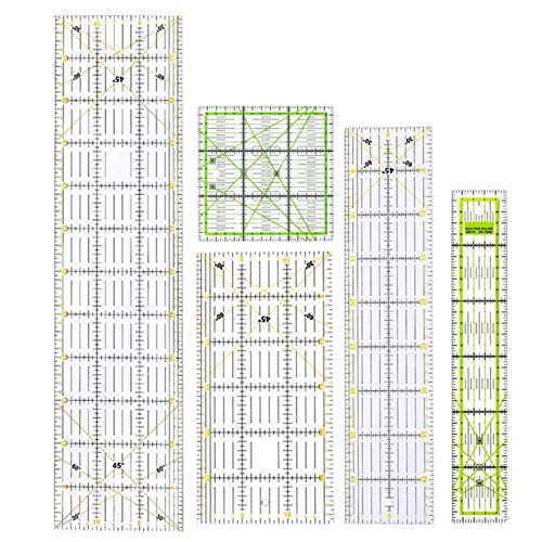 RWEAONT 5 unids/Set Rectángulo Rectángulo Patchwork Schilting Scale Scale Dibujo Recto Reglas de Costura Taesor Crafts Herramientas Multifunción MEDICIÓN Formas Tailor Herramienta
