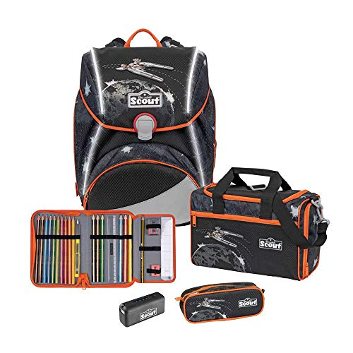 Scout Alpha Schulranzen Set 4tlg. Safety Light Limitierte Exklusiv Kollektion Space Command