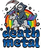 NGK Trading Death Metal Music Unicorn Pony Rainbow Pink Fan Vinyl Decal Bumper Sticker Wall Laptop Window Sticker 5'
