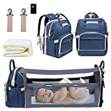 WiseWater Diaper Bag Backpack with Foldable Baby Bed, Portable Travel Bassinets for Babies, Waterproof Mommy Bag with Changing Station USB Charging Port, Baby Travel Crib Bag for Girls Boys