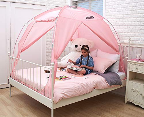 BESTEN Floorless Indoor Privacy Tent on Bed with Color Poles for Cozy Sleep in Drafty Rooms (Twin, Pink)