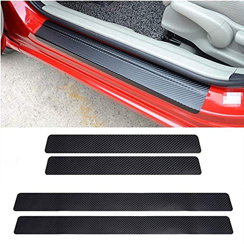 LANZMYAN Auto Door Sill Protector Universal 3D Carbon Fiber Scuff Protective Door Sill Cover Vinyl Sticker 4PCS