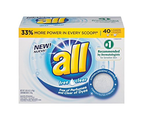 all Powder Laundry Detergent, Free Clear for Sensitive Skin, 52 Ounces, 2 Count, 104 Total Loads