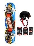 Tony Hawk - Monopatín completo de 8,0 pulgadas, serie de principiantes, juego de protecciones Tony Hawk (Skate & Protecciones S/M)