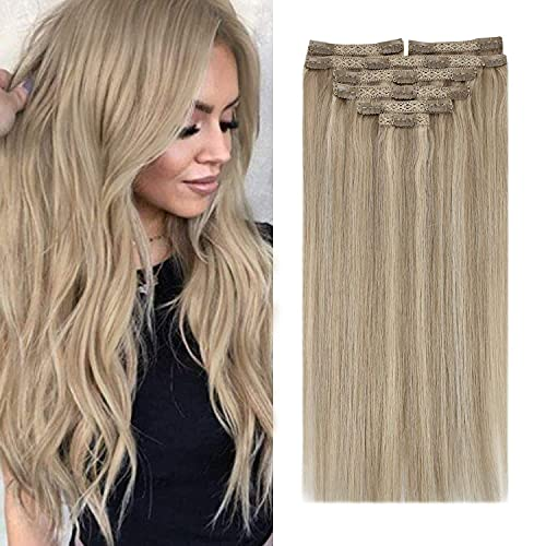 Sunny 22inch Clip in Human Hair Extensions Remy Blonde Highlights 120G 7PC Clip in Extensions Real Human Hair Silky Straight Long Hair