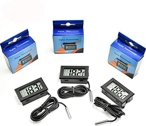 cococity Termometro Digital Acuario para Refrigerador Frigorífico Congelador Acuario Temperatura probador LCD Pantalla 3 Piezas (Negro)