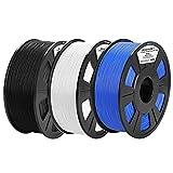 ACCCREATE 1.75mm PLA Filament Black White and Blue 3kg Bundle, 3D Printer Filament Bundle for FDM 3D Printers