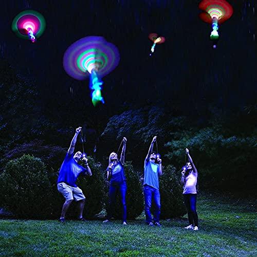 5 Stück Erstaunliches LED-Licht Pfeilrakete Hubschrauber Elastisches fliegendes Spielzeug Party Favor Fun Geschenk für Kinder