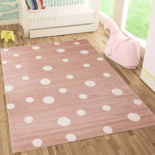 Kinderteppich DOTS l Pünktchen Gepunktet l Öko-Tex Siegel | Farbe: Beige Blau Rosa | Kinderzimmer / Jugendzimmer