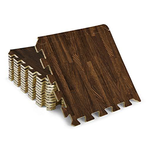 Yes4All Interlocking Floor Mats with Border – Foam Floor Mats/Gym Floor Mats with EVA Interlocking Tiles (12 Square Feet – Oak Wood Dark – 12 Tiles)
