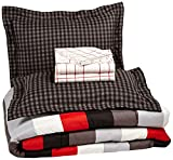AmazonBasics 7-Piece Light-Weight Microfiber Bed-In-A-Bag Comforter Bedding Set - Full or Queen, Red Simple Stripe