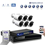 MorphXStar 8CH 4K NVR Network IP Security Camera System - 6 x HD 2160P 6MP 2.8 mm; Wide Viewing Angle: 100° Lens 100ft IR PoE IP Bullet Camera + 2TB Hard Drive + 8 Ports PoE Switch