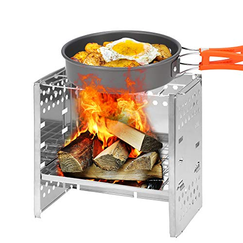 Lixada Camping Stove Picnic BBQ Cooker Folding Stainless Steel Backpacking Stove Wood Stove Burner