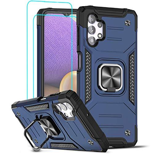 LeYi Funda Samsung Galaxy A32 5G Armor Carcasa con [2 Unidades] Cristal Templado, Cover con 360 Grados Magnetic Anillo Soporte Hard PC y Silicona TPU Bumper antigolpes Case para Samsung A32 5G, Azul