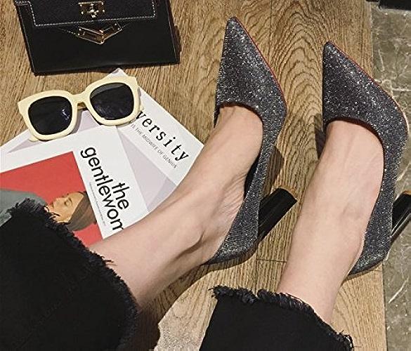 AJUNR Femmes Loisirs été Mode Chaussures de Point avec Une épaisseur de Bouche Peu Profonde Tous-Match Paillettes 8cm Argent de Chaussures à Talons Hauts