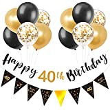 Schwarz & Gold 40. Geburtstag Dekoration, Happy 40. Geburtstag Banner Luftballons, Dreieck Flagge Banner für 40 Jahre alte Geburtstagsfeier Dekorationen Lieferungen