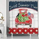 NYMB Patriotische Sterne & Streifen Flagge Unabhängigkeit Duschvorhang Sweet Summer Time Wassermelone auf Rustikal Rot LKW Auto mit USA Vogel Holz Badezimmer Duschvorhänge Haken 69