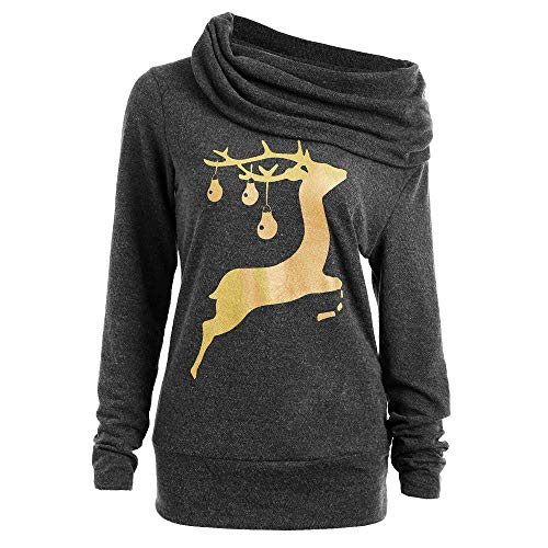 VEMOW Heißer Damen Frauen Weihnachten Blusen Oberteile Deer Rollkragen Top Langarm Casual Tagesfreizeit Pullover Sweatshirt Herbst Winter(Schwarz, 36 DE/M CN)