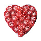 TOOGOO Sch?ne 24 Stücke Rot Duftende Bad Seife Rosenblüten In Herz Box (Rot)