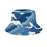 Yuanmeiju Cubo de Sombrero para el Sol Style Men Women Foldable Sombrero de Playa de Pescador Sun Protection Japanese Blue and White Wave