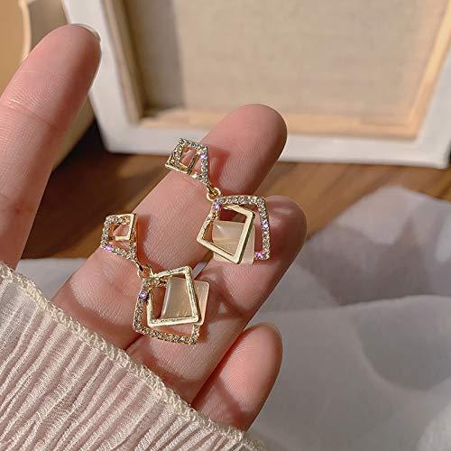 Pendientes de circonita personalizados, pendientes de cristal cuadrado geométrico de rombos dorados, para fiestas de mujer (color de metal: 1, tamaño: normal)