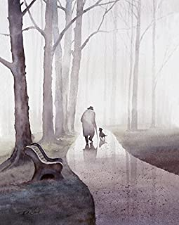 An Old Man and His Dog Walking In The Park - Art print of watercolor painting - Old man and dog, Trees, Park, Bench