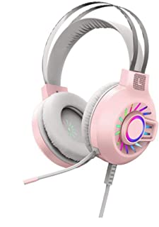 ヘッドセット SFBBBO プロフェッショナルゲーミングヘッドホンヘッドセットゲーマー有線USB PCコンピューター7.1サラウンドサウンドステレオ密閉型耳付きヘッドセットマイクラップトップStandard5.1Pink