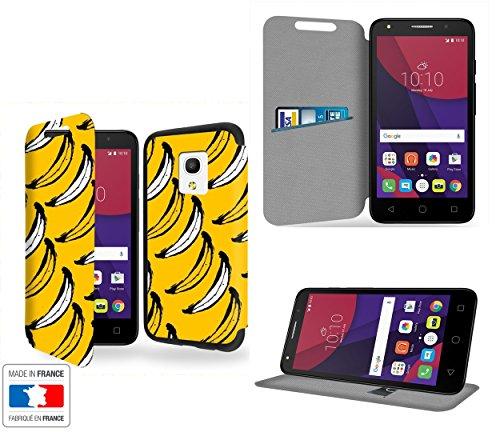 Bananas Collection Pattern Custodia Pelle Ultra Slim per Alcatel Pixi 4 (5') 4G 5045D smartphone con STAND - Flip Case Funda Cover protettiva Alcatel Pixi 4 (5') 4G 5045D PU Pelle - CASE Industry accessori