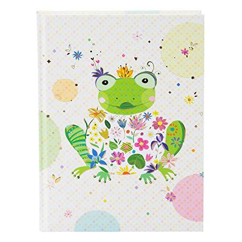 goldbuch 64392 Notizbuch DIN A5 mit Motiv Happy Frog im Turnowsky Design, Kladde mit 200 creme Seiten, 100 g / m² Papier blanko, Notizheft gebunden mit Kunstdruck, Goldprägung und Lesezeichen