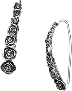 Paz Creations ♥925 Sterling Silver Elongated Rose Earrings, Made in Israel