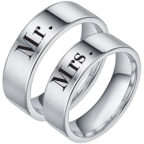 XAHH Couples Rings Engraved Mr and Mrs His Hers Matching Set Titanium Steel Promise Anniversary Band Silver Size 12
