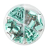 4-in-1 Boxed Binder Clips and Paper Clips Thumbtacks Set Assorted Sizes Small Medium Mini Paper Clamps Bulk for Office School Supplies Teachers Classroom Daily use (Light Green)
