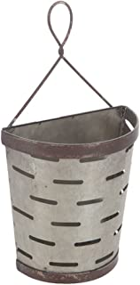 Galvanized Vented Tin Olive Bucket Wall Pocket with Hanger (Standard Version)