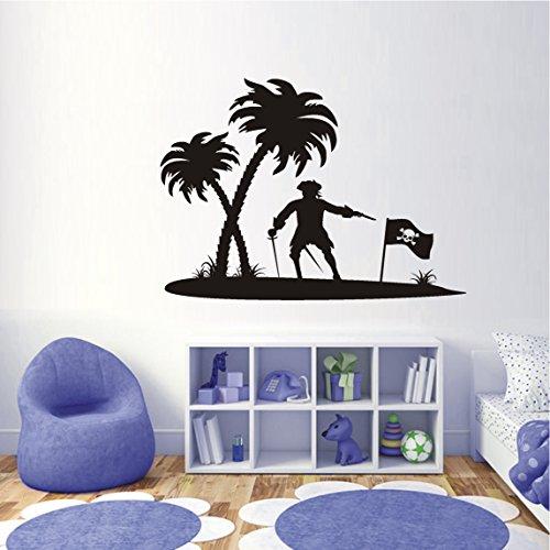 HomeTattoo ® WANDTATTOO Wandaufkleber Pirateninsel Palmen Pirat Insel Kinderzimmer 559 XL ( L x B ) ca. 58 x 80 cm (violett 040)