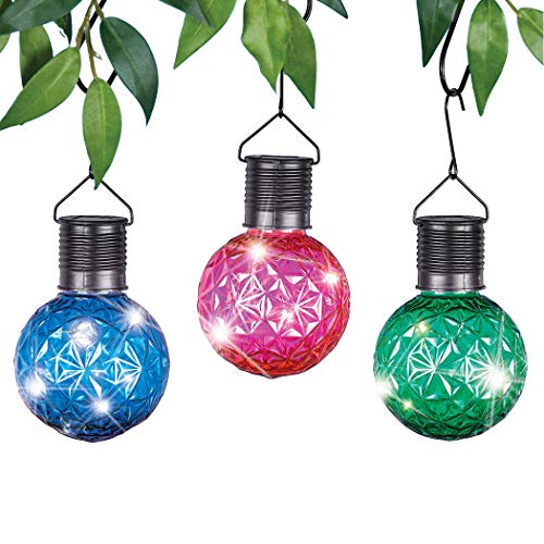 Solar Powered Colorful Hanging LED Lights, Set of 3 - Sparkles in The Sun, Light Up at Night - Hang from Tree Branch, Hook - Metal, Plastic - 3.25