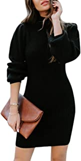 QitunC Womens Long Sleeve Turtle Neck Knitted Jumper Knitwear Dress Sweater Dress Tunic Pullover