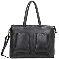 ZipperNext Women's Vintage Leather Shoulder Bag 15.6 Inch Laptop Bag Handbag Satchel Tote Bag