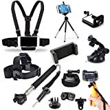 Cellphone Selfie Head Chest Wrist Mount Harness Strap Monopod Tripod with Cell Phone Clip Kit for GoPro Hero 7 6 5 / iPhone Xs XR Max X 8 7 6 + Samsung LG Huawei Sony Nokia Xiaomi Oneplus Cellphone