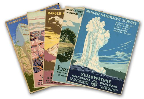 "SET of FIVE U.S. National Park Service Vintage Travel Prints circa 1938 - each measure 24"" high x 18"" wide (610mm high x 458mm wide)"