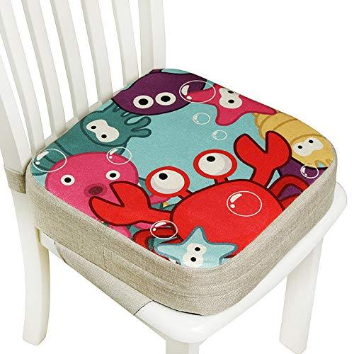 Lelesta Cuscino Rialzo da Sedia per Bambini, Fansu Comodo e Facile da Pulire Smontabile Regolabile Cuscino Alzasedia per Seggioloni Cuscino Seduta per Sedia da Giardino (40x40x10cm, Mondo sott'acqua)