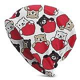 GOSMAO Bear Hug Heart Beanie Hat para Hombres y Mujeres Winter Warm Sombreros Negro