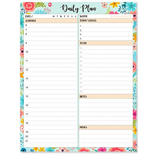 """2021 Daily Planner Notepad - Daily to Do List Notepad with Schedule, to Do List & Meals Plan, Scheduling Yourself All Day, 7"""" x 9"""""""