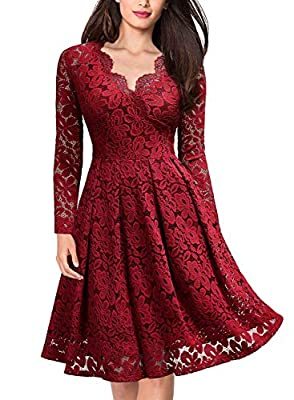 MISSMAY Women's Vintage Floral Lace Long Sleeve V-Neck Cocktail Formal Swing Dress