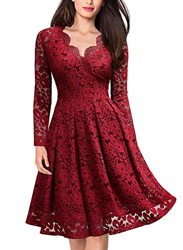 MISSMAY Women's Vintage Floral Lace V-Neck Cocktail Formal Swing Dress, Large, Red