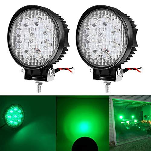 27W Spot Green Round Work LED Light Fog Offroad Off Road Lights Driving Lamp Waterproof for Hunting Pickup UTV Truck Car Boat SUV Boat 4WD ATV 12V 24V 4x4 Tractor Motorcycle(2pcs)