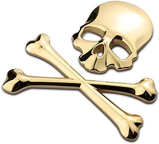 VOSAREA 3D Skull Metal Skeleton Crossbones Car Sticker Label Skull Emblem Badge Decal (Gold)