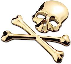CLISPEED Skull Crossbone Pirate Car 3D Emblem Logo Chrome Metal Badge Sticker Decal Decorations Side Fender Rear Trunk Sti...