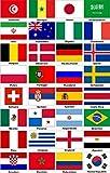 Kleberio® Aufkleber wetterfest 32 Fahnen WM 2018 Teilnehmer Flagge Auto Motorrad Carravan