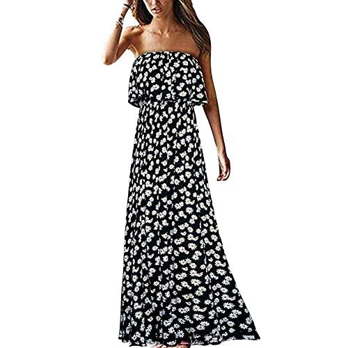 Yokbeer Damska Letnia Niebiesko-biała Porcelanowa Długa Sukienka Boho Bez Ramiączek (Color : D, Size : XL)